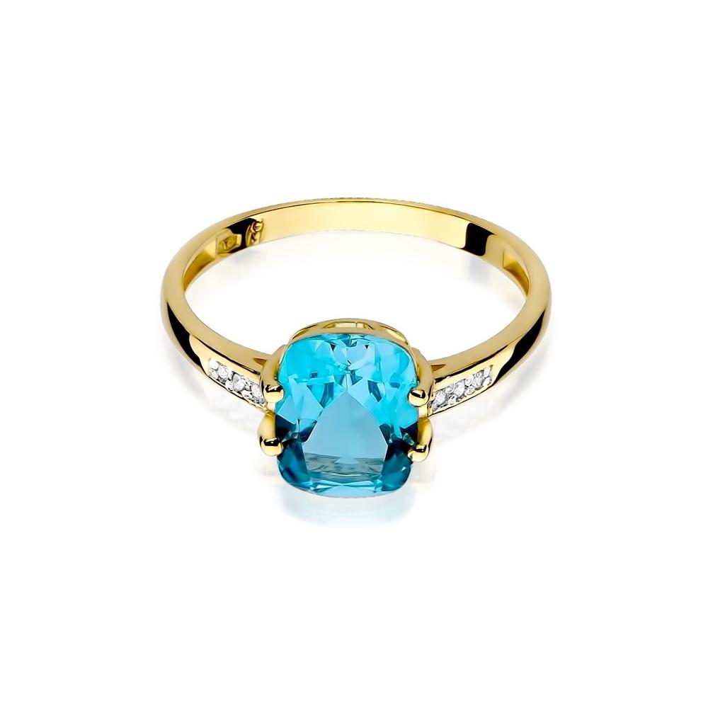 Pierścionek zaręczynowy 585 złoto z topazem 2,40ct i brylantami