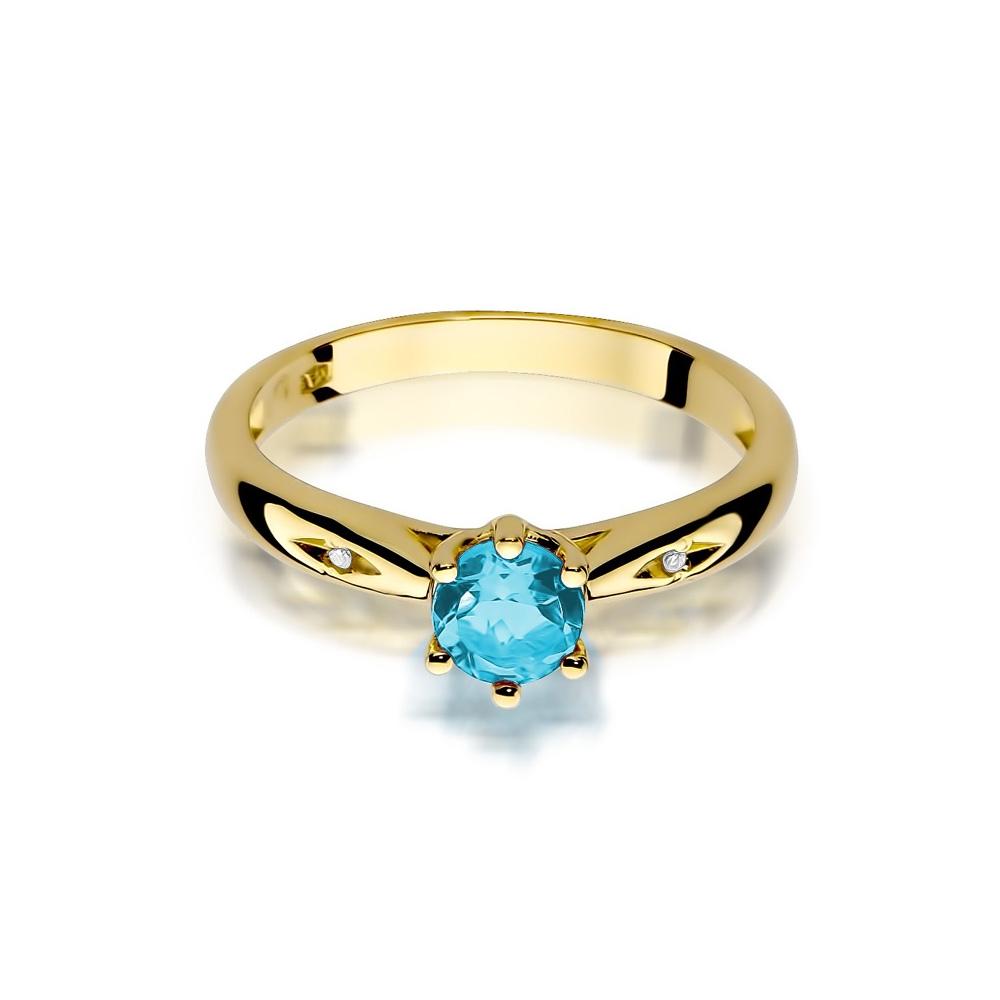 Pierścionek zaręczynowy 585 złoto z topazem 0,50 i brylantami