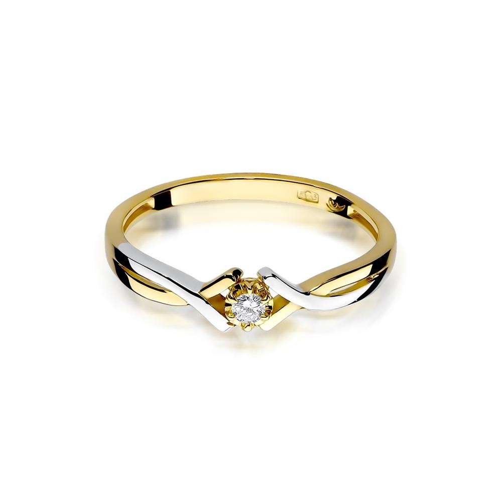 Pierścionek zaręczynowy 585 złoto z brylantem 0,04ct