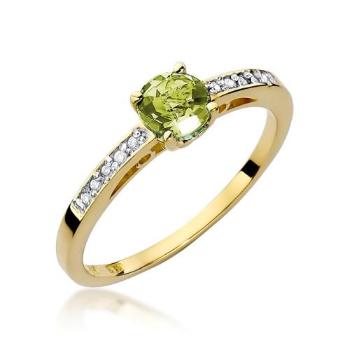 Pierścionek zaręczynowy z oliwinem 0,60ct i brylantami pr.585