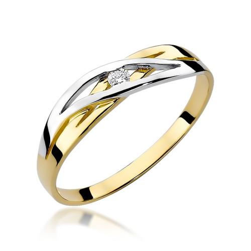 Pierścionek zaręczynowy z brylantem 0,05ct pr.585