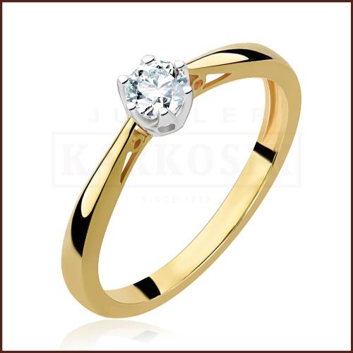 Pierścionek zaręczynowy 585 złoto z brylantem 0,20ct - 18