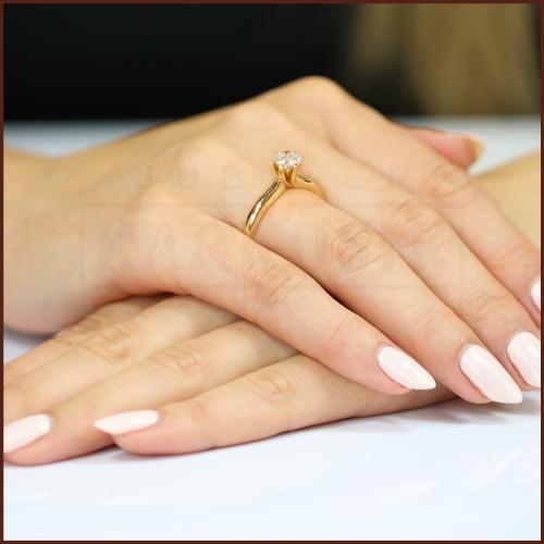 Pierścionek zaręczynowy 585 złoto z brylantem 0,40ct - 12