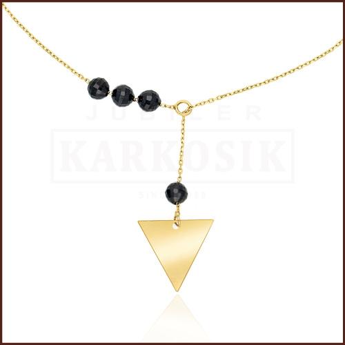 Złoty Naszyjnik Celebrytka z Kryształkami - Trójkąt pr.585