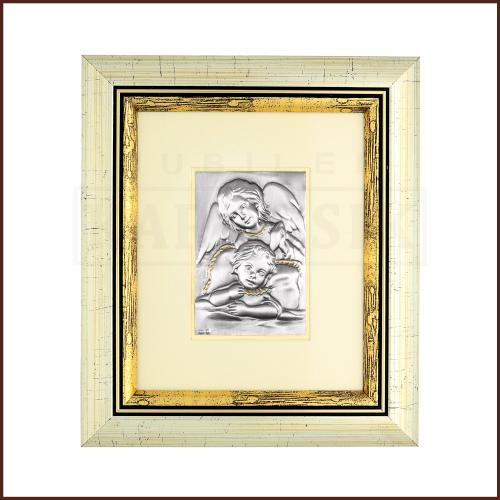 Srebrny Obrazek na Chrzest Św. - Aniołek czuwający nad dzieckiem