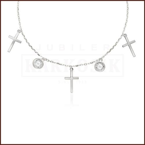 Srebrny Naszyjnik Celebrytka z Cyrkoniami - Krzyżyki pr.925
