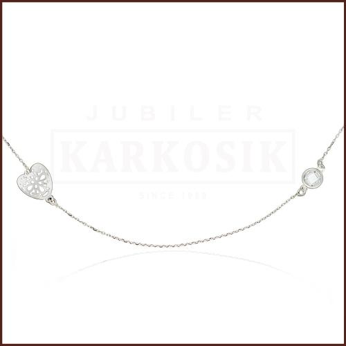 Srebrny Naszyjnik Celebrytka z Cyrkonią - Ażurowa Koniczynka pr.925