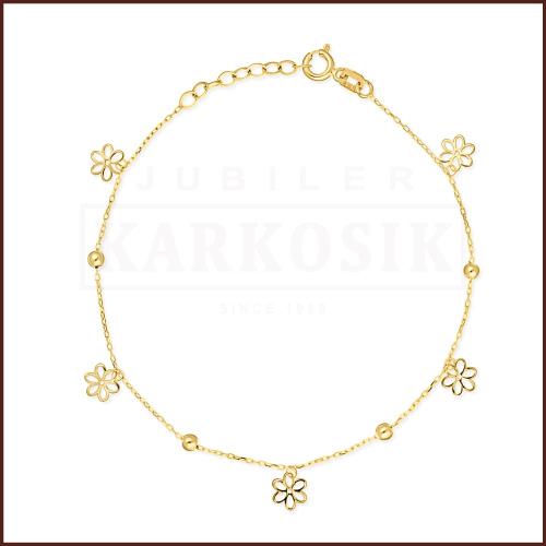 Złota Bransoletka Celebrytka - Kwiatki pr. 585