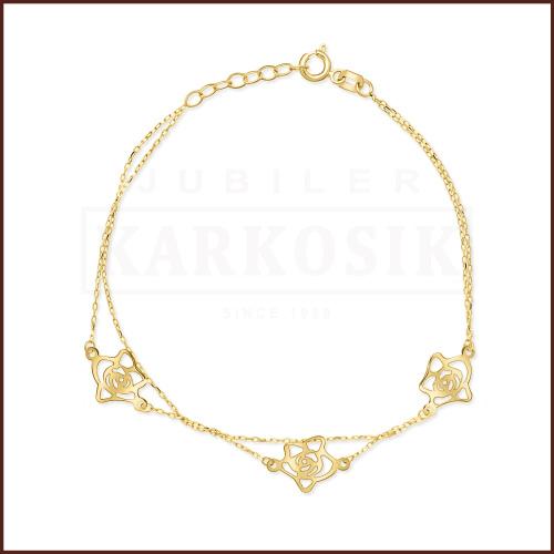 Złota Bransoletka Potrójna Celebrytka - Ażurowe Róże pr. 585