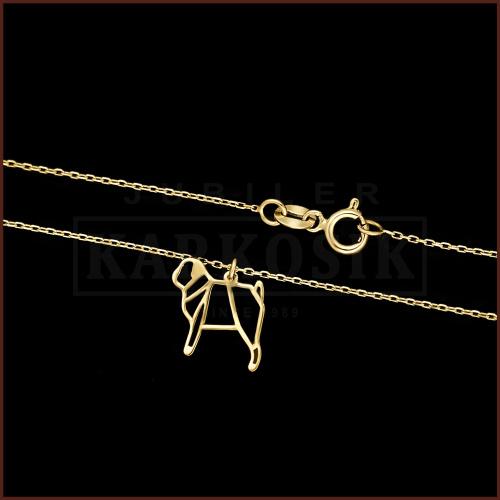 Złoty Naszyjnik Celebrytka - Mops pr.585
