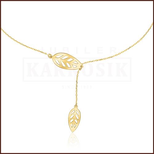Złoty Naszyjnik Podwójna Celebrytka - Listki pr.585
