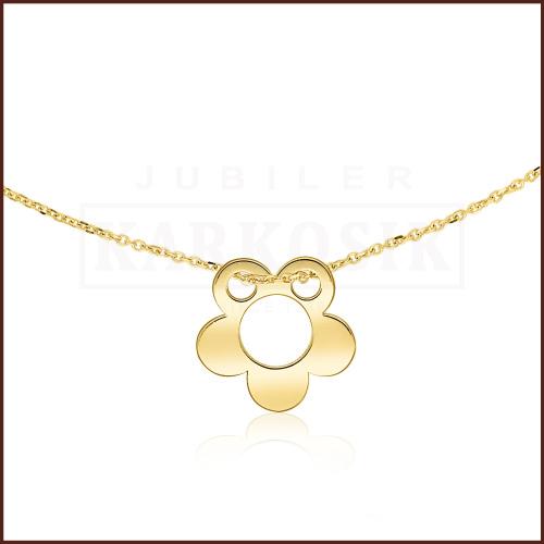 Złoty Naszyjnik Podwójna Celebrytka - Kwiatek pr.585