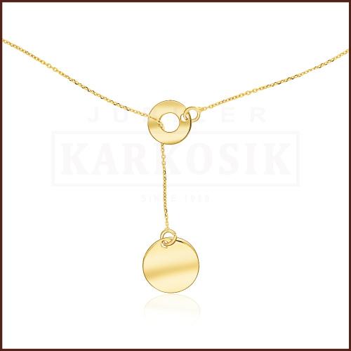 Złoty Naszyjnik Podwójna Celebrytka - Kółka pr.585