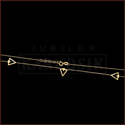 Złoty Naszyjnik Potrójna Celebrytka - Trójkąty pr.585