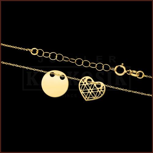 Złoty Naszyjnik Podwójna Celebrytka - Ażurowe Serce, Kółko pr.585