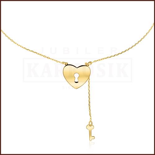 Złoty Naszyjnik Celebrytka - Serce z Kluczem pr.585