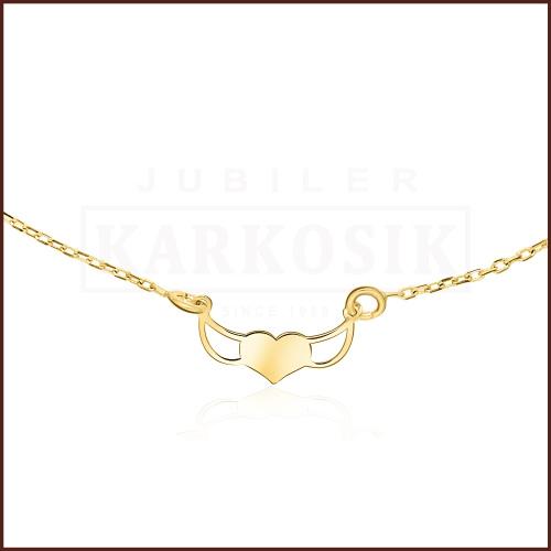 Złoty Naszyjnik Celebrytka - Uskrzydlone Serce pr.585