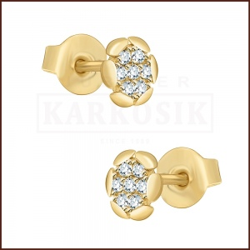 Złote kolczyki z cyrkoniami - Kwiatkuszki pr.585