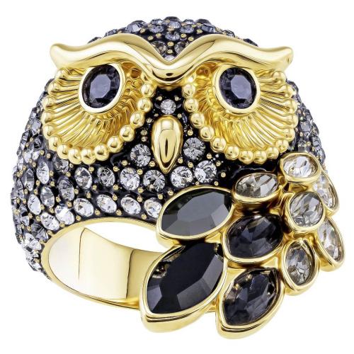 Pierścionek SWAROVSKI - March Owl Motif, Multi-colored, Gold