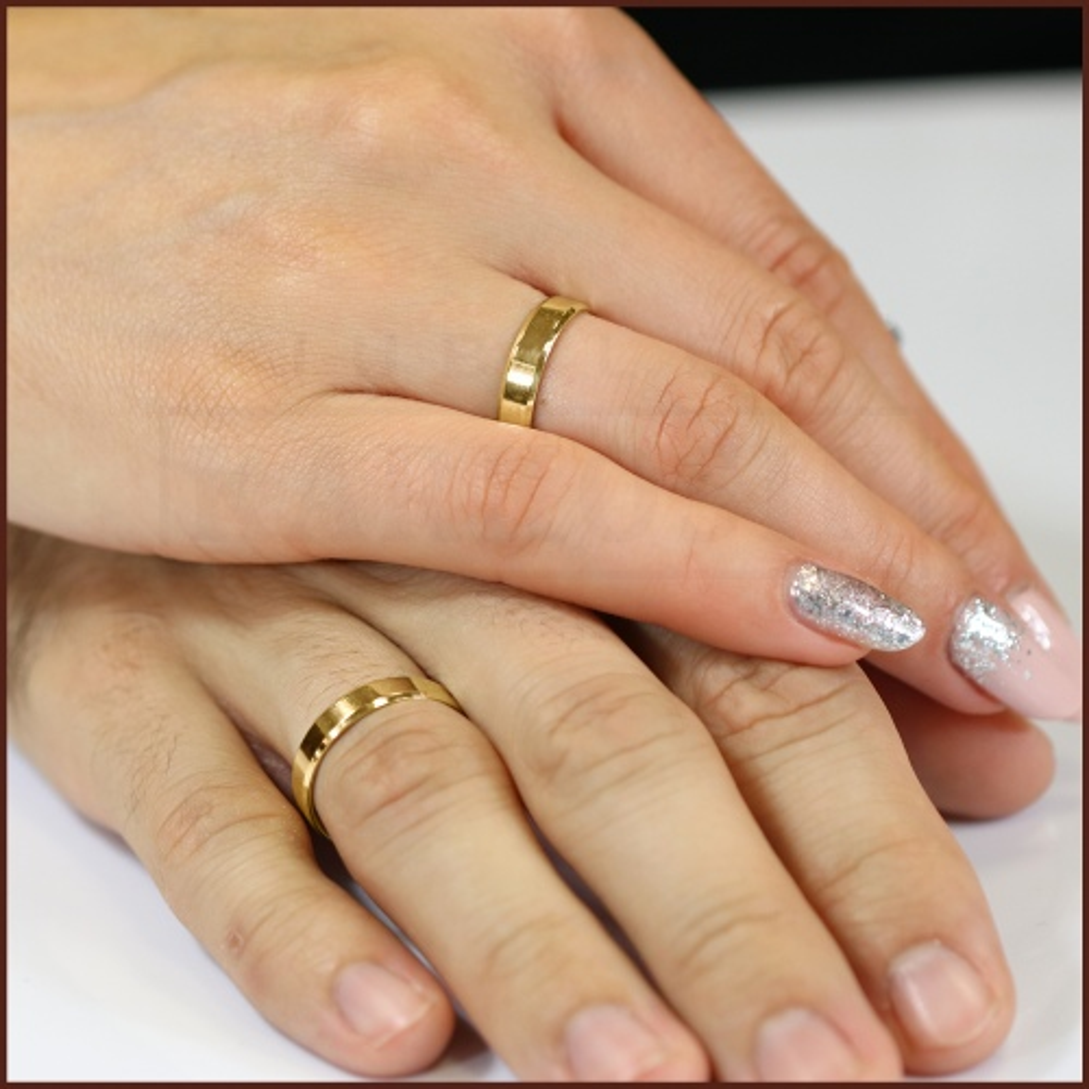 Obrączka ślubna płaska ścięta 4mm pr. 585