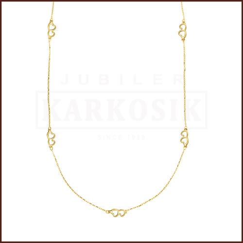 Złoty Naszyjnik Celebrytka - Podwójne Serduszka pr.585