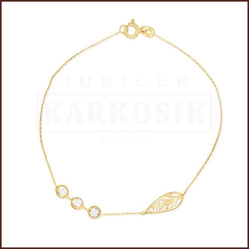 Złota Bransoletka Celebrytka - Listek z Kryształkami pr.585