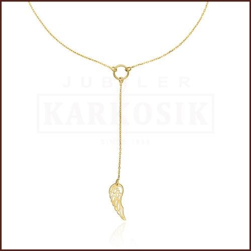 Złoty Naszyjnik Celebrytka - Wiszące Skrzydło Anioła pr.585