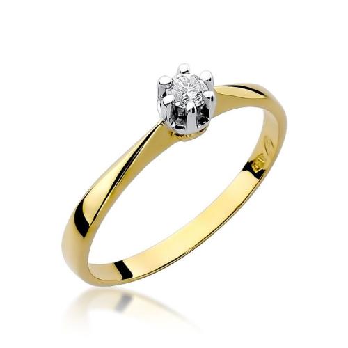 Pierścionek zaręczynowy 585 złoto z brylantem 0,10ct