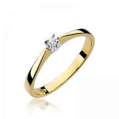 Pierścionek zaręczynowy 585 złoto z brylantem 0,03ct