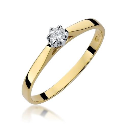 Pierścionek zaręczynowy 585 złoto z brylantem 0,09ct