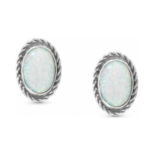 Kolczyki Nomination Silver - Biały Opal 027800/022