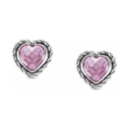 Kolczyki Nomination Silver - Różowa Cyrkonia 'Serce' 027802/003