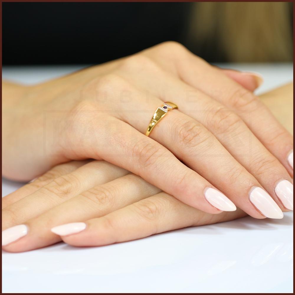 Pierścionek zaręczynowy 585 złoto z szafirem 0,05ct i brylantami