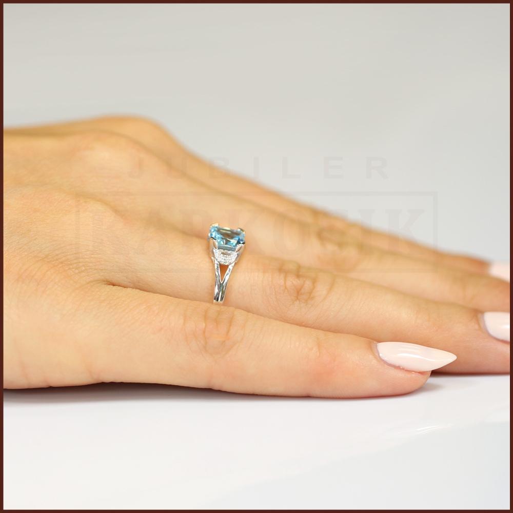 Pierścionek zaręczynowy 585 złoto z topazem 1,10ct i brylantami