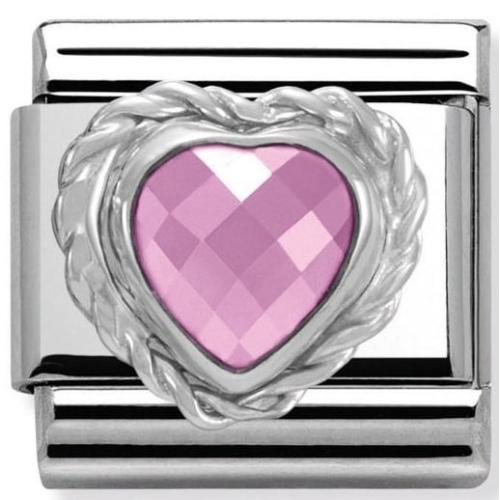 Nomination - Link 925 Silver 'Różowe serce' 330603/003