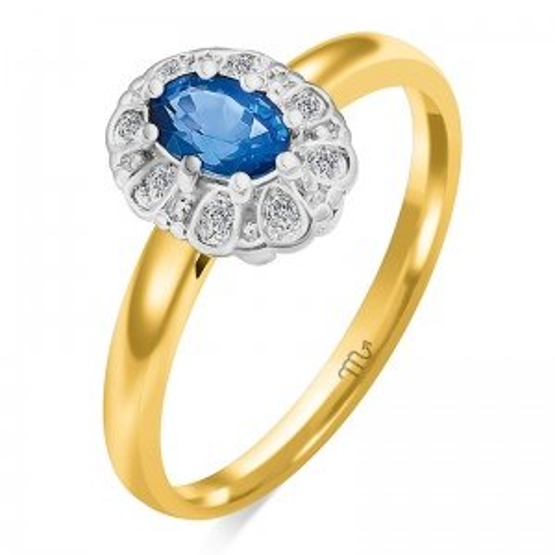 Pierścionek zaręczynowy złoto 585 z Brylantami i Szafirem 0,44ct