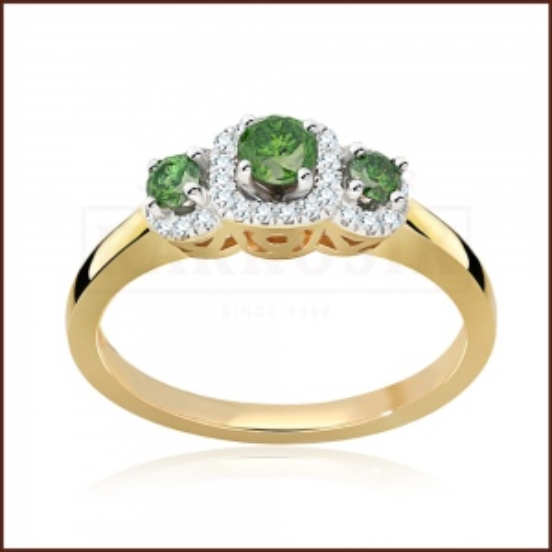 Pierścionek zaręczynowy złoto 585 z Zielonymi Brylantami 0,53ct