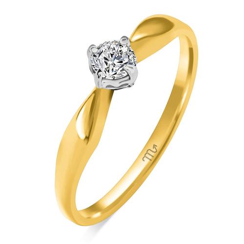 Pierścionek zaręczynowy złoto 585 z brylantem 0,16ct
