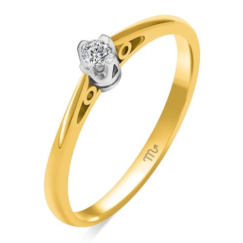 Pierścionek zaręczynowy złoto 585 z brylantem 0,07ct