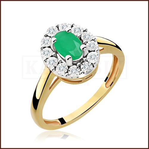 Pierścionek zaręczynowy złoto 585 z brylantami i szmaragdem 0,52ct