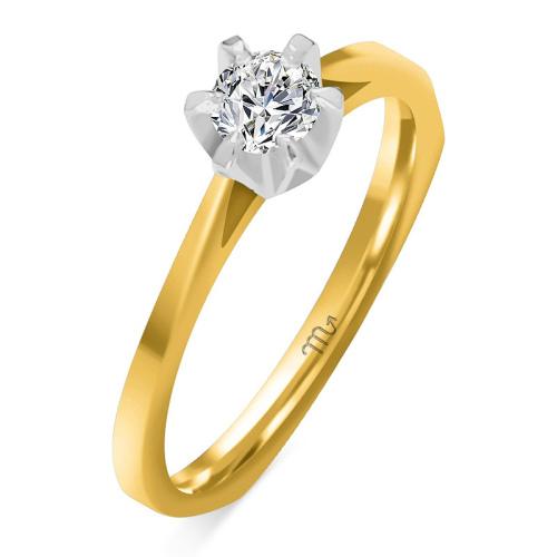 Pierścionek zaręczynowy złoto 585 z brylantem 0,20ct