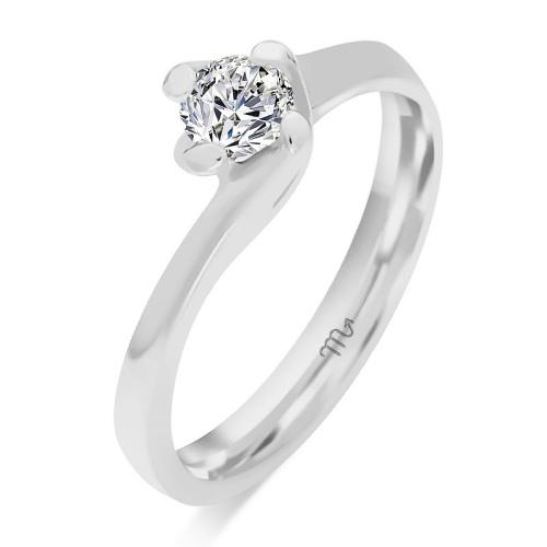 Pierścionek zaręczynowy białe złoto 585 z brylantem 0,35ct