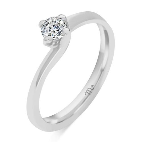 Pierścionek zaręczynowy białe złoto 585 z brylantem 0,20ct