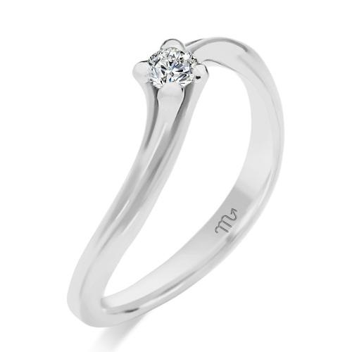 Pierścionek zaręczynowy białe złoto 585 z brylantem 0,07ct