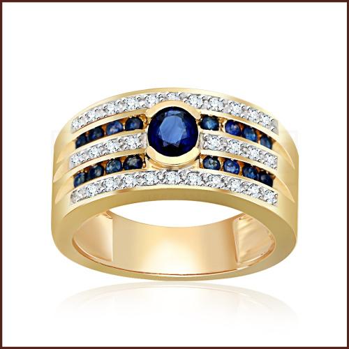 Pierścionek zaręczynowy złoto 585 z brylantami i szafirami 0,95ct
