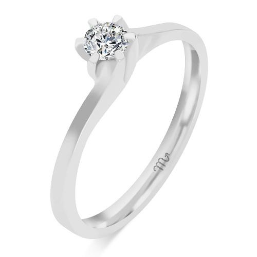 Pierścionek zaręczynowy białe złoto 585 z brylantem 0,16ct