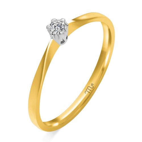 Pierścionek zaręczynowy złoto 585 z brylantem 0,04ct