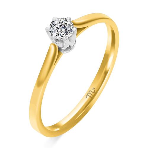 Pierścionek zaręczynowy złoto 585 z brylantem 0,13ct
