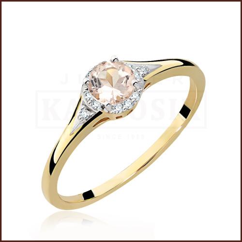 Pierścionek zaręczynowy złoto 585 z brylantami i morganitem 0,50ct