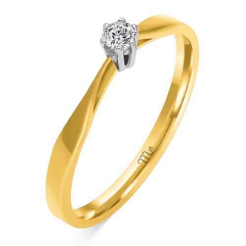 Pierścionek zaręczynowy złoto 585 z brylantem 0,08ct
